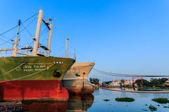 Fishing boats moored 3. Large fishing boats moored along the Tha Chin River in Thailand stock photography