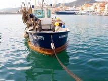 Fishing boats moored Stock Photos
