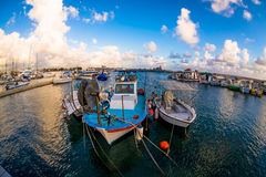 Fishing boats moored in a Paphos harbour. Cyprus Royalty Free Stock Image