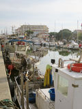 Fishing boats moored at the port of Cesena Stock Photography