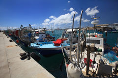 Fishing boats moored in the port of Cyprus Royalty Free Stock Photography