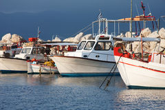 Fishing boats moored in port in Zante town, Greece Royalty Free Stock Photography