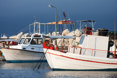Fishing boats moored in port in Zante town, Greece Royalty Free Stock Images