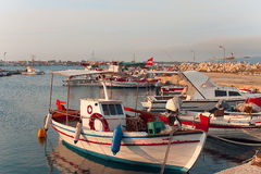 Fishing boats moored in port in Zante town, Greece Royalty Free Stock Image