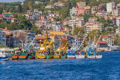 Fishing boats moored in Sariyer Royalty Free Stock Photos