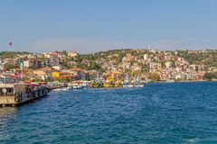Fishing boats moored in Sariyer Stock Images