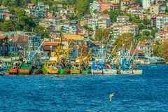 Fishing boats moored in Sariyer Royalty Free Stock Photo
