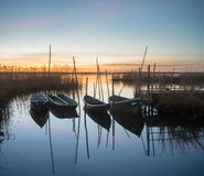 Fishing boats moored at the  small wooden bridge over the river. Oder river, Poland,fabulous sunrise on the river Royalty Free Stock Images