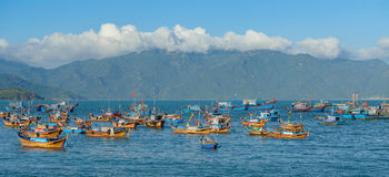 Fishing boats moored in vietnam Stock Photo