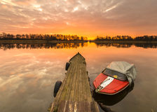 Fishing boats moored for the winter harbor. Poland Stock Photo