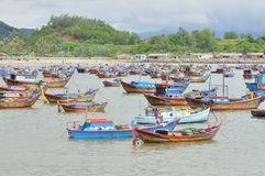Fishing boats are mooring in a seaport of Nha Trang royalty free stock image