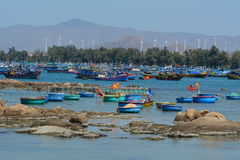 Fishing boats at Mui Ne village in Phan Thiet, Vietnam Royalty Free Stock Photography