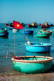 The fishing boats in Muine Stock Photography