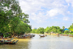 Fishing boats in Myanmar Stock Photos