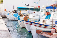 Fishing boats in Naousa village, Paros island, Cyclades, Greece. Beautiful Naousa village, Greek islands Royalty Free Stock Images