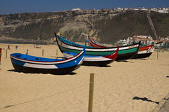 Fishing boats Nazare Portugal Royalty Free Stock Photos