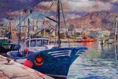 Fishing boats near moorage Stock Photos