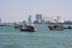 Fishing boats near Pattaya Royalty Free Stock Photo