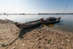 Fishing boats. Near the U Bein bridge in Mandalay region, Myanmar Stock Photography