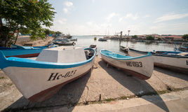 Fishing boats in Nessebar in Bulgaria Royalty Free Stock Photos