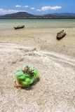 Fishing boats and net. In the Anony salted lake near Tolanaro & x28;Fort-Dauphin& x29; in southern Madagascar stock photos