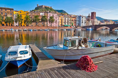 Fishing boats and nets. On the river in Bosa in Sardinia Stock Images