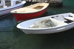 Fishing boats with nets closeup. Royalty Free Stock Images