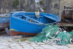 Fishing boats. And nets in Gallipoli Stock Photography