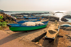 Fishing boats with nets Stock Photos