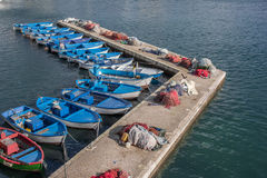 Fishing boats and nets on a pier in Gallipoli Stock Photography