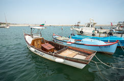 Fishing boats on the new pier Sarafovo in Bourgas, Bulgaria Royalty Free Stock Photography