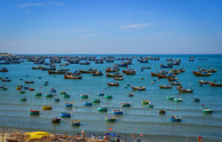 Fishing boats on Nha Trang Bay in Vietnam royalty free stock photography