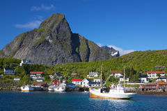 Fishing boats in Norway stock photography