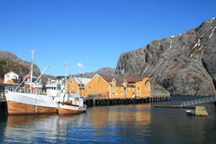 Fishing boats of Nusfjord   in Lofoten Stock Photos