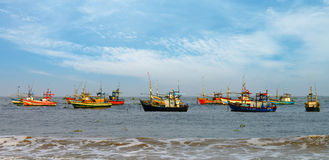 Fishing boats in the ocean Stock Image
