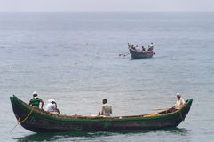 Fishing boats in the ocean Royalty Free Stock Photo