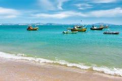 Fishing boats in the ocean. Sri Lanka. Stock Images