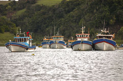 Fishing boats. Off the coast of Tubul, the Bio Bio region, Chile Royalty Free Stock Image