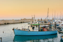 Fishing boats in the old port of Jaffa, Tel Aviv Royalty Free Stock Photography