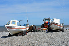 Fishing Boats and Old Tractor, Cromer, Norfolk, England Stock Photos