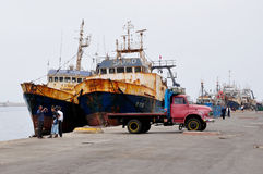 Fishing Boats and Old Truck, Agadir Harbour Royalty Free Stock Photos