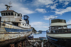 Fishing boats. In one of the harbours of The Cyclops Coast at Sicily, Italy Royalty Free Stock Photos
