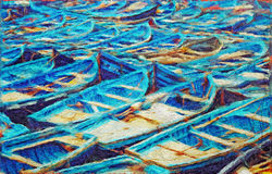 Fishing boats painting Royalty Free Stock Photography