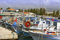 Fishing boats in Paphos harbor. Stock Photography