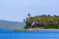 Fishing boats at Paradonpab Beach. Paradonpab Beach is in Chumphon Province,southern Thailand Stock Photos