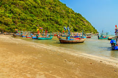 Fishing boats park on the beach Stock Photo