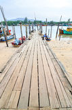 Fishing boats park at jetty Stock Images