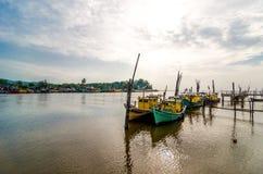 Fishing boats park at jetty Royalty Free Stock Photos