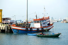 Fishing boats. At Pattaya bay Stock Images