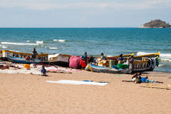 Fishing boats and people at Lake Malawi. Stock Photography